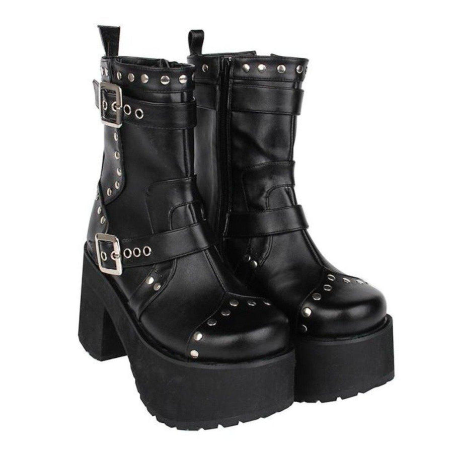 Women's Buckle Straps Studded High Heel Boots