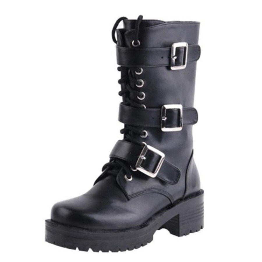 Women's Punk Lace-Up Buckle Straps Mid-Calf Boots