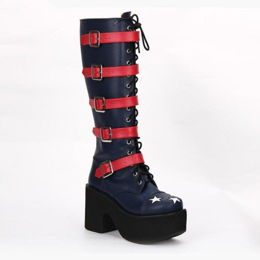 Women's High Heel Buckle Straps Boots with Stars