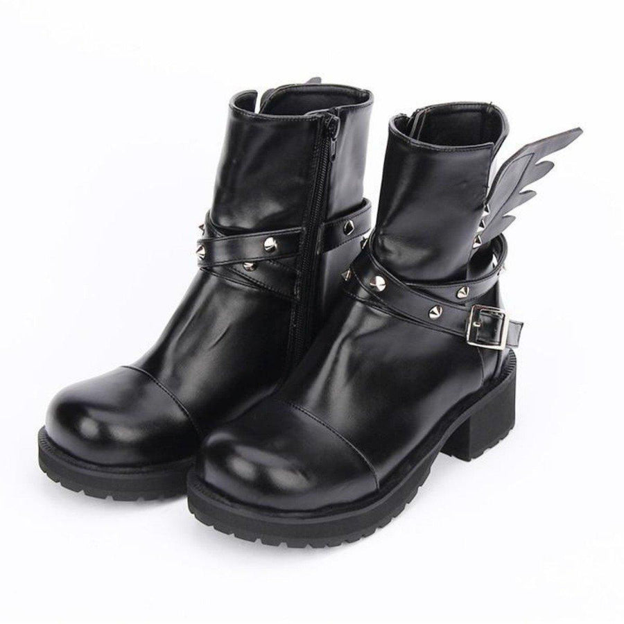 Women's Rivet Buckle Strap & Wings Punk Boots