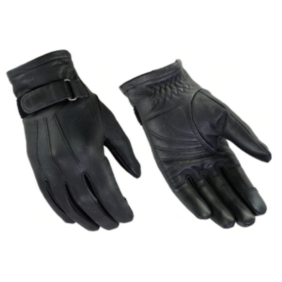 Daniel Smart Classic Motorcycle Leather Gloves, Black