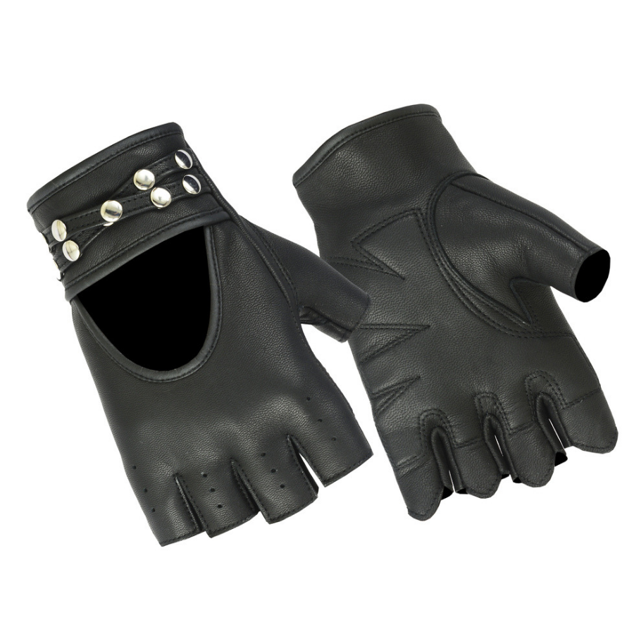 Daniel Smart Women's Fingerless Gloves w/ Rivets Detailing, Leather, Black - American Legend Rider