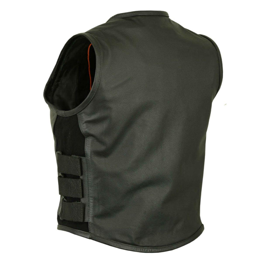 Daniel Smart Motorcycle Black Leather Vest - Swat Style - American Legend Rider