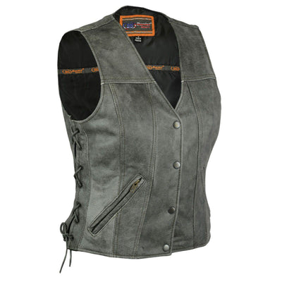 Daniel Smart Gray Single Back Panel Concealed Carry Leather Vest - American Legend Rider