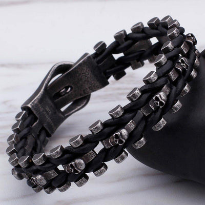 Skull Braided Leather Bracelet - American Legend Rider