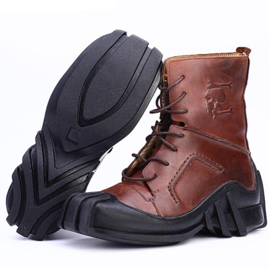 High Quality Leather Skull Boots - American Legend Rider