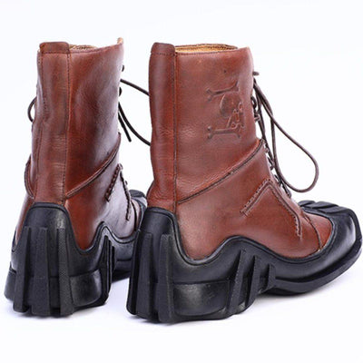 High Quality Leather Skull Boots