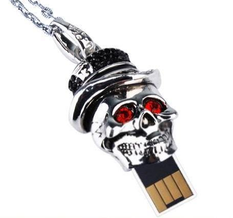 Metal Skull Pendant USB Flash Drive with Red Eyes, 1GB-2TB