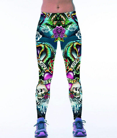 Bikers Skull Leggings Colorful Front