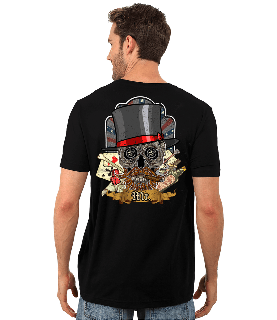 Poker Skull in a Hat T-Shirt, Cotton, Black