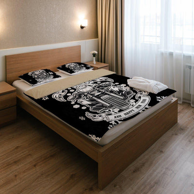Santa Biker Bedding Set (1 Duvet Cover, 2 Pillowcases), Polyester, Size Twin-Queen-King, Black, Black Colored, White, White Colored - American Legend Rider