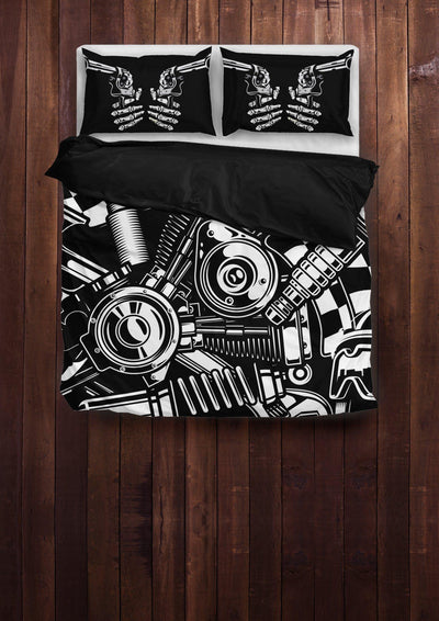 Biker Tools Bedding Set (1 Duvet Cover, 2 Pillowcases), Polyester, Size Twin-Queen-King, Black/White - American Legend Rider