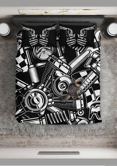 Biker Tools Bedding Set (1 Duvet Cover, 2 Pillowcases), Polyester, Size Twin-Queen-King, Black/White