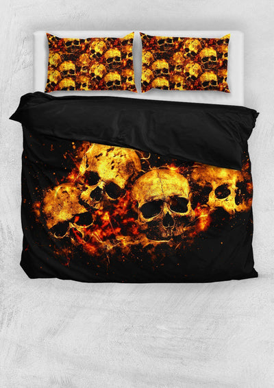 Flaming Skull Bedding Set - American Legend Rider