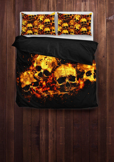 Flaming Skull Bedding Set