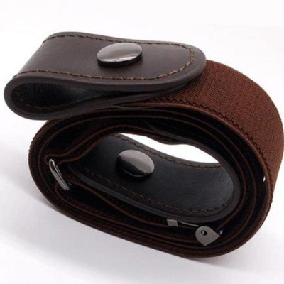 Buckle-Free Elastic Belt, Unisex, Fits Waist 33.5 - 49 In, Black, Brown, Blue