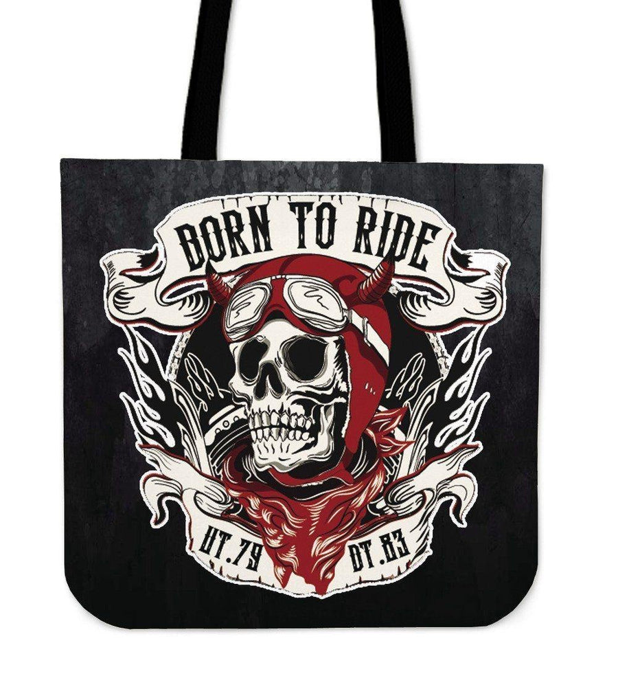 "Skull Born to Ride Tote Bag, Poly-Cotton, 14"" Shoulder Straps, Black"