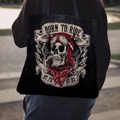 "Woman's Skull Born to Ride Tote Bag, Poly-Cotton, Size 16""x16"", 14"" Shoulder Straps, Black/White/Red"
