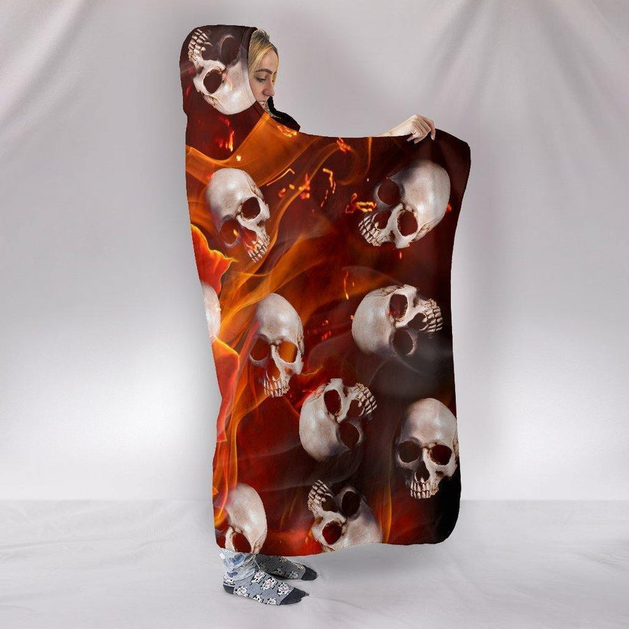 Fire Rose Skulls Hooded Blanket