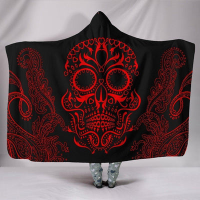 Red Mandala Skull Hooded Blanket