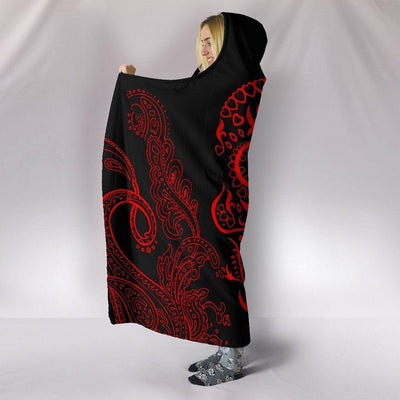 Black Mandala Red Skull Hooded Blanket Ultra-Soft Polyester Blanket
