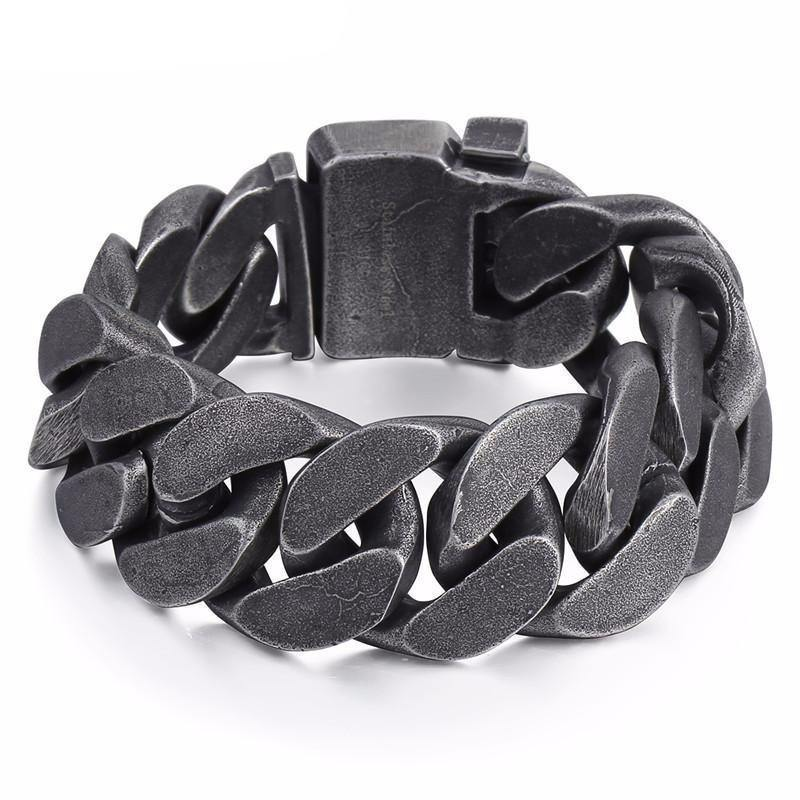 "316L Stainless Steel/Enamel Big Boys Heavy Thick Chain Bracelet, 9"" x 0.9"", Gray - American Legend Rider"