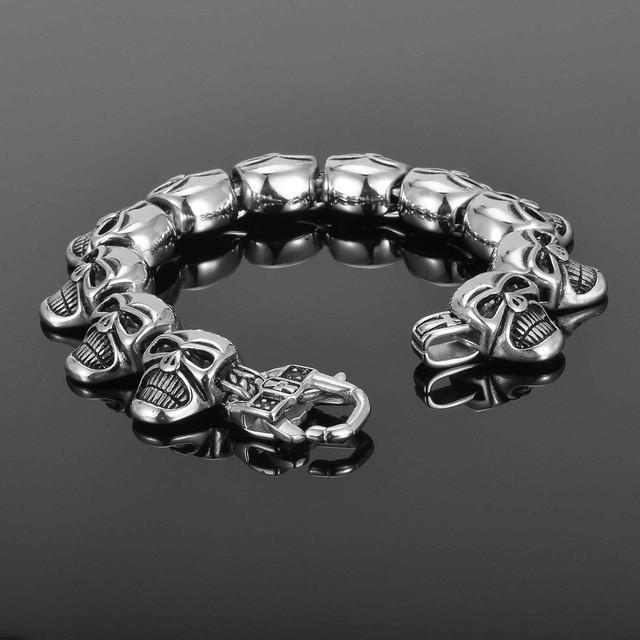Men's Stainless Steel Steampunk Skull Bracelet, 8.7 x 0.8 in, Antique Silver Tone