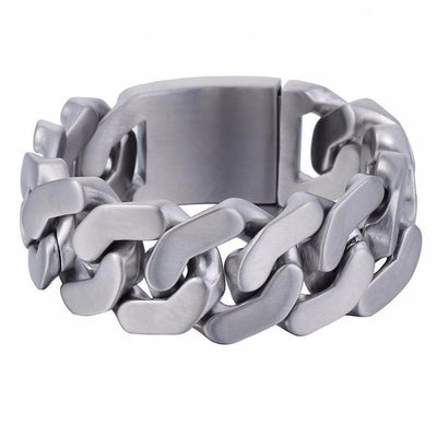Stainless Steel Heavy Thick Chain Bracelet, Width 1 in, Thickness 0.2 in, Silver