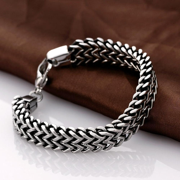 Stainless Steel Double Side Snake Chain Bracelet, 8 in, Silver Color