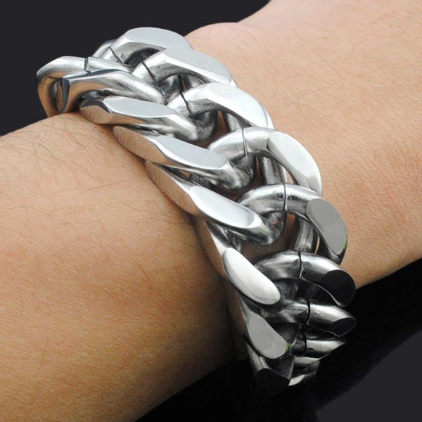 316L Stainless Steel Heavy Chain Punk Bracelet, 8.7 x 0.8 in, Silver Color