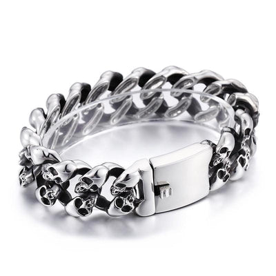 Stainless Steel Men's Punk Skull Bracelet, Silver
