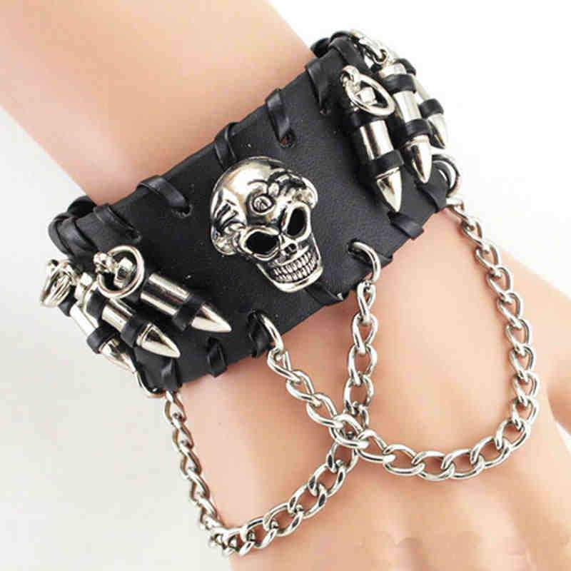 Biker Skull Leather Bracelet, 8.7 in