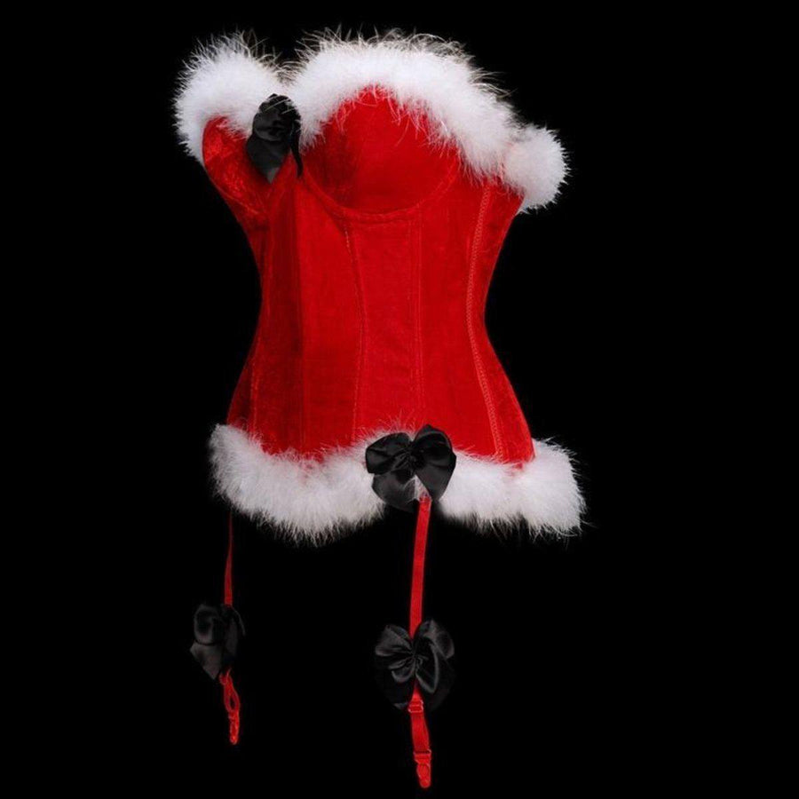 Women's Sexy Red Christmas Corset Overbust w/ White Artificial Fur Trim, Polyester - American Legend Rider