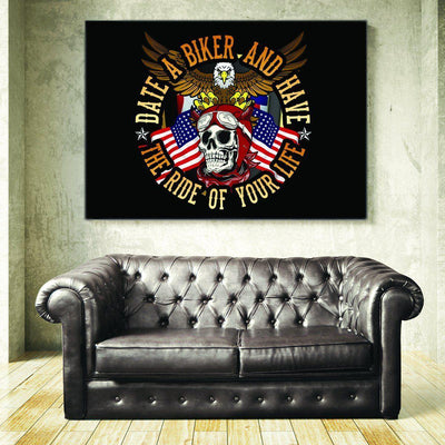 Date a Biker Canvas Print Art, 32x48 in, and Smaller, Framed