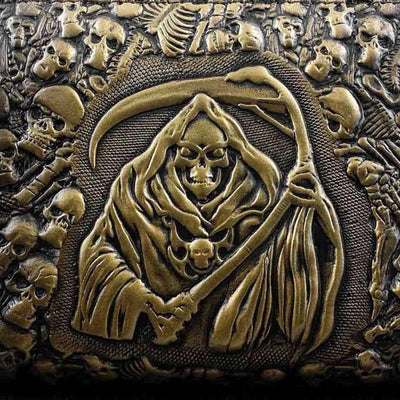 Handmade Grim Reaper Wallet Purse, Eco Leather, 8 x 4.3 in, Brown/Gold