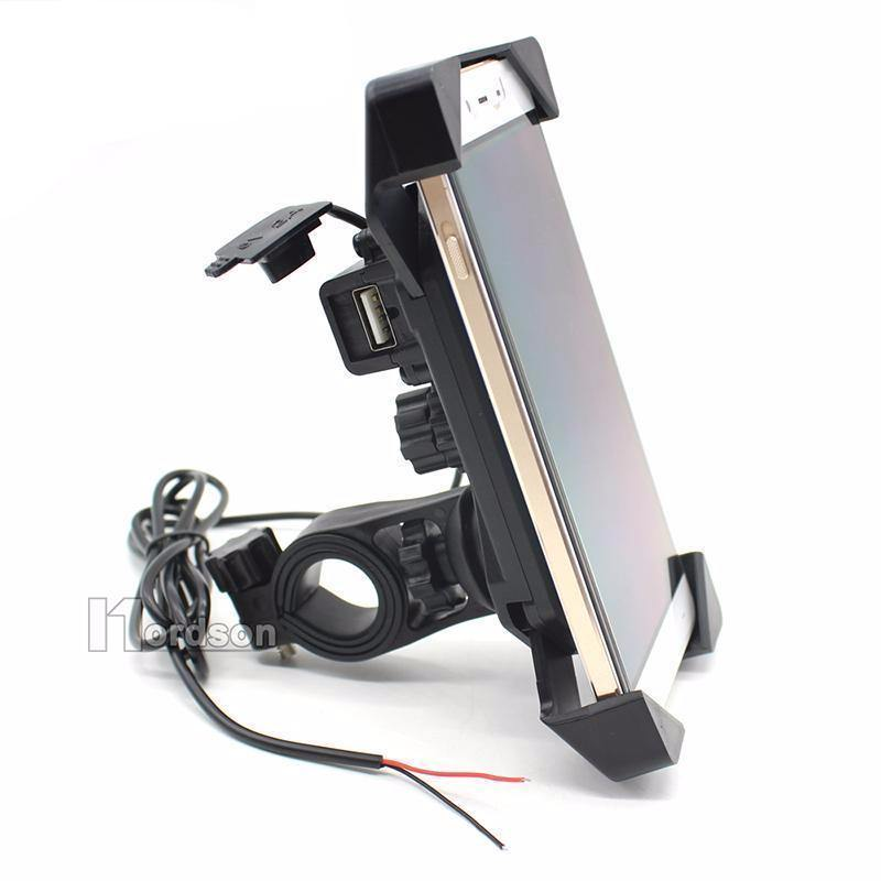"Motorcycle Phone Mount Holder with USB Charger Port, 3.5-7"" Screen Fit, Universal for 7/8"" Handlebar - American Legend Rider"