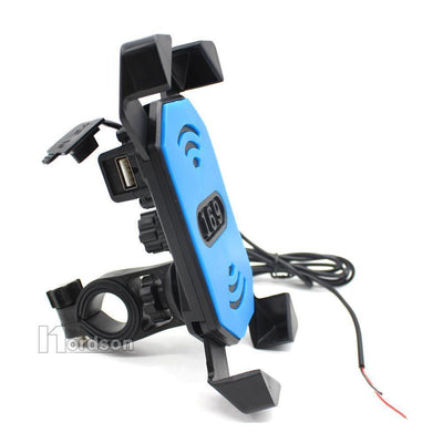 "Motorcycle Phone Mount Holder with USB Charger Port, 3.5-7"" Screen Fit, Universal for 7/8"" Handlebar"