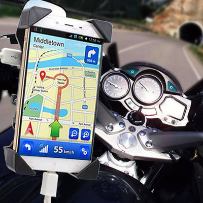Motorcycle Phone Holder With USB Charger