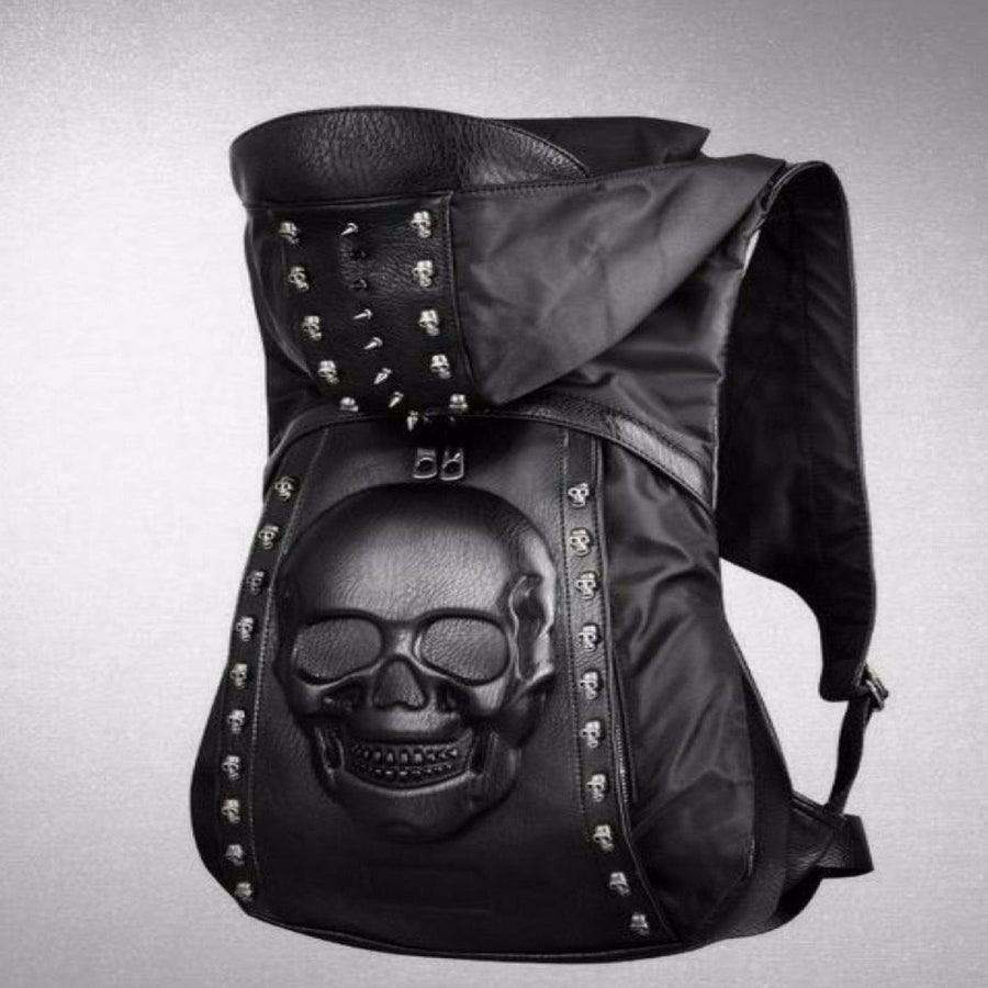 3D Skull Backpack Hoodie, PU Leather, 19.6 x 12.5 x 4.7 in, Black