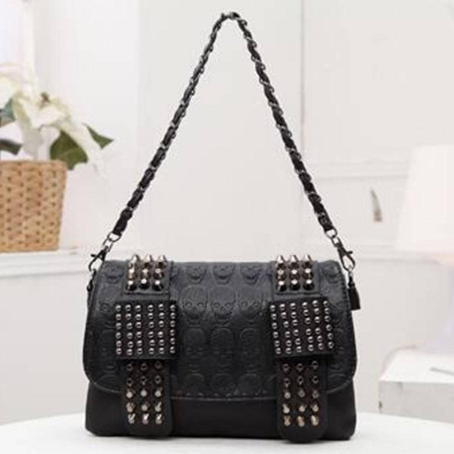 Vintage Skull Studded Rivet Shoulder Bag w/ Free Skull Wallet, Eco-Leather, Black