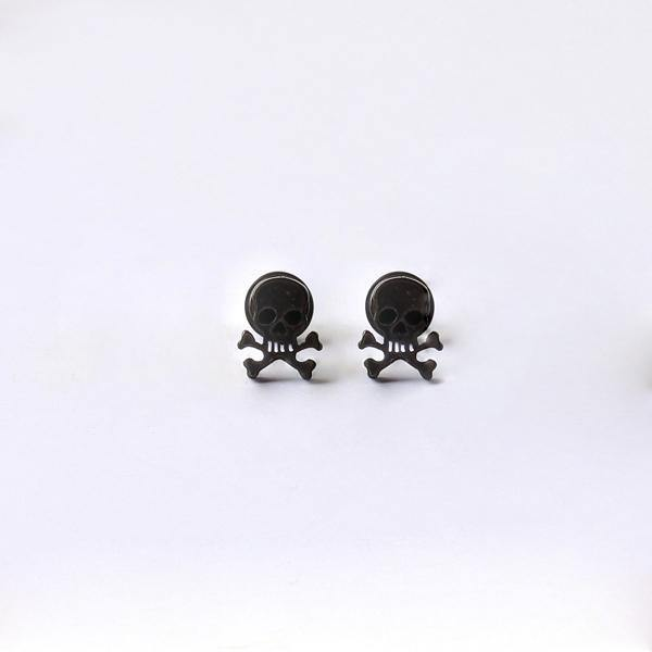 Titanium Rock Skull Stud Earrings, Pirate Skull Screw Back Stud Earrings, Unisex, 0.3 in Diameter, Silver, Black, Gold