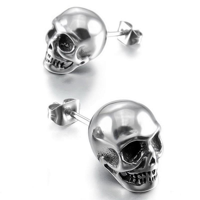 Silver Rock Skull Stud Earrings