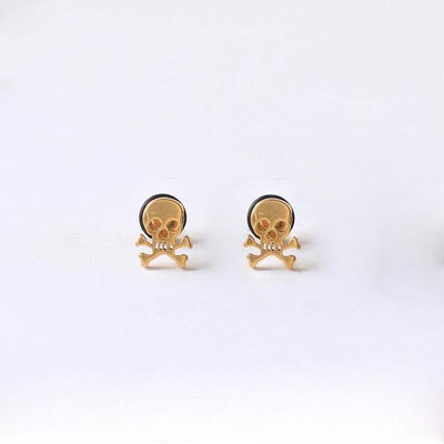 Titanium Rock Pirate Skull Screw Back Stud Earrings - American Legend Rider
