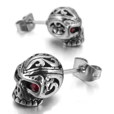 Red Eye Skull Stud Earrings for Men & Women, Stainless Steel/Crystal,  0.4 x 0.3 in - American Legend Rider