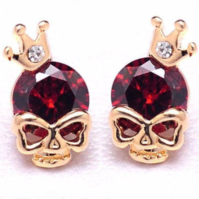 Woman's Gold Plated Skull Cubic Zircon Stud Earrings, Push Back, Red, Blue, Green Zircon