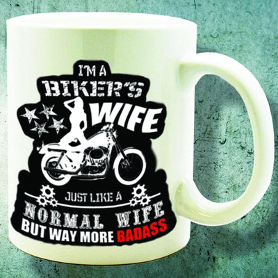"""I Am A Biker's Wife"" Mug for Her, Ceramic, 11 oz - American Legend Rider"