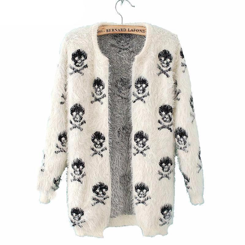Skull Knitted Sweater Cardigan - American Legend Rider