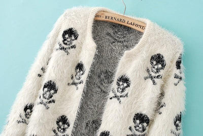 Women's Skull Knitted Sweater Cardigan, Cotton/Polyester, One Size, Black/White