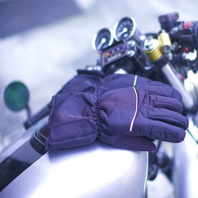 Motorcycle Waterproof Electronically Heated Gloves, Size M-L, Black