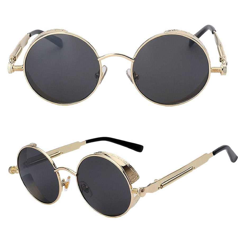 Rebel Steampunk Round Sunglasses, Unisex, Alloy Frame/Polycarbonate Lenses, OS, Gold Black, Silver Blue, Matte Black, Gold Blue